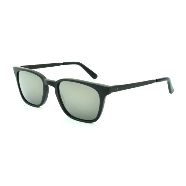Masunaga - 041 - S69 - Matte Black - Gold Mirrored Lenses - Rectangular Sunglasses