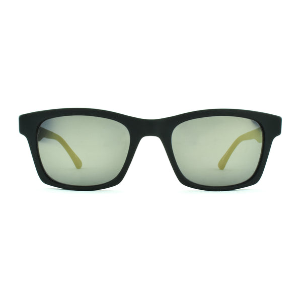 Masunaga - 065 - S19 - Matte Black - Gold Mirrored Lenses - Rectangular - Sunglasses