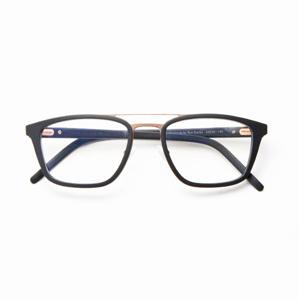 Tom Davies - 07483 - Matte Black / Gold - Rectangle - Eyeglasses - Titanium - Hicks Brunson Eyewear