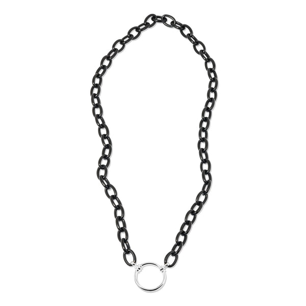 Black Acetate Chain with Plated Silver Loop - 168P