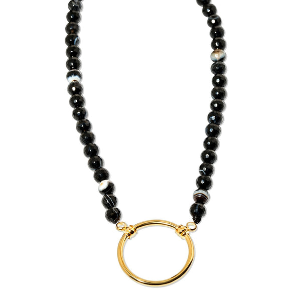 Black Striped Agate with Gold Plated Loop - 212BL