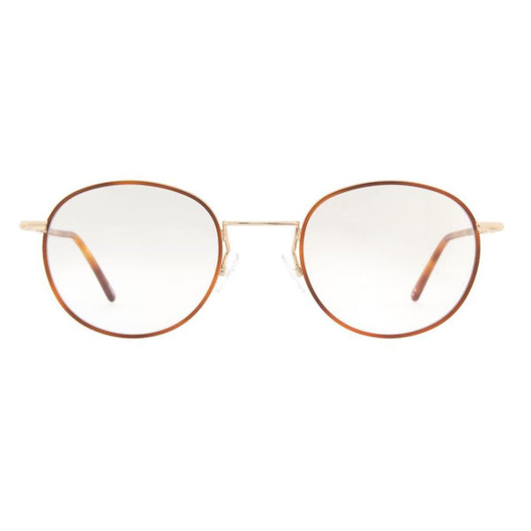 Andy Wolf - 4728 - D - Brown/Gold - Round - Metal - Windsor-Rim - Eyeglasses - Hicks Brunson Eyewear