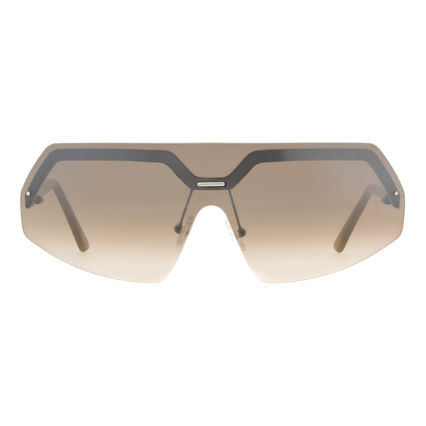 Andy Wolf - PINQ - B - Matte Silver / Smoke / Brown-Gradient Tint with Silver Mirror Lenses - Shield - Sunglasses - Hicks Brunson Eyewear