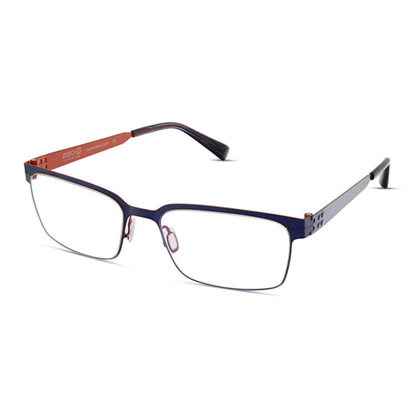 Zero G - Armonk - Indigo / Burnt Orange - Rectangle - Titanium - Eyeglasses - Hicks Brunson Eyewear