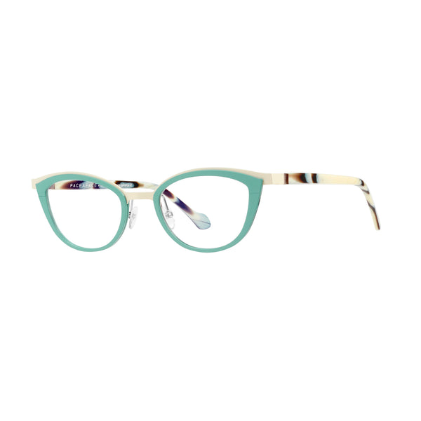 Face A Face - Akiko 1 - 9005 - Teal / Marble - Cateye - Metal - Eyeglasses - Hicks Brunson Eyewear