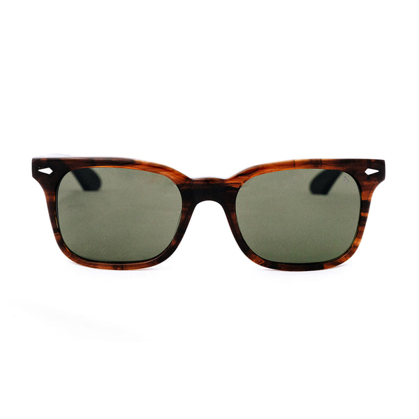 American Optical - Tournament - Wood Grain - Green Tinted Lenses - Rectangle - Sunglasses - Hicks Brunson Eyewear