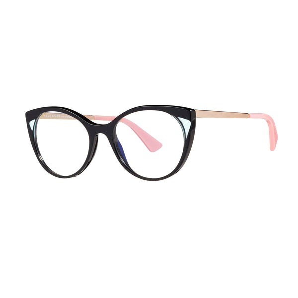 Face A Face - Anouk 2 - 100 - Black / Crystal / Gold / Pink - Round - Cateye - Eyeglasses - Hicks Brunson Eyewear