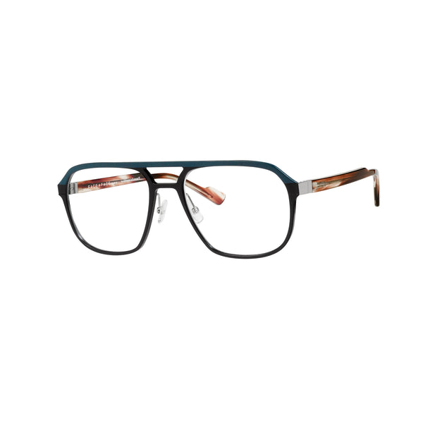 Face A Face - Beats 1 - 9122 - Dark Brown / Hunter Green - Metal - Rectangle - Eyeglasses - Hicks Brunson Eyewear