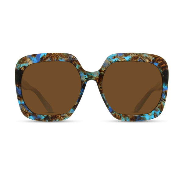 Born In Brooklyn - Beverly Square - Blue Brown Collage - Polarized Sunglasses - Hicks Brunson Eyewear