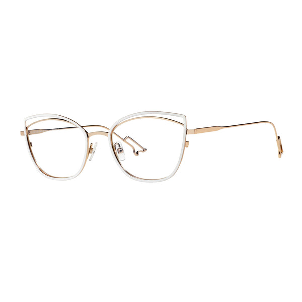 Face A Face - Bocca Song 1 - 933 - White / Gold - Cateye - Titanium - Eyeglasses - Hicks Brunson Eyewear