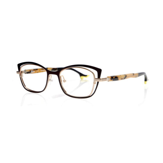 Face A Face - Bocca Twin 3 - 9122 - Gold / Brown / Safari - Cateye - Titanium - Eyeglasses - Hicks Brunson Eyewear