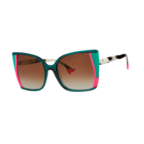 Face A Face - Bocca Vogue 2 - 2045 - Neon Pink & Green / Marble / Gradient-Brown Tinted Lenses - Butterfly - Cateye - Sunglasses - Hicks Brunson Eyewear