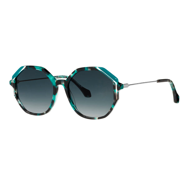 Face A Face - Cinema 2 - 6154 - Teal Tortoise / Gold / Sapphire Gradient Tinted Lenses - Sunglasses - Zyl - Round - Hicks Brunson Eyewear