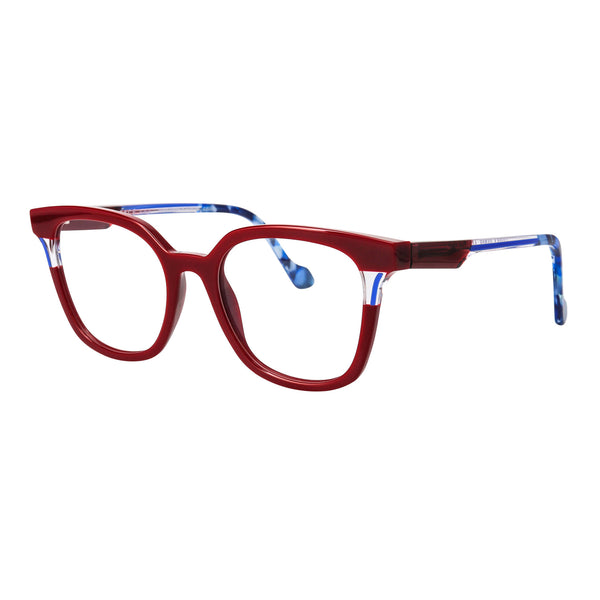 Face A Face - Daria 1 - 1217 - Red / Blue / Crystal - Rectangle - Cateye - Eyeglasses