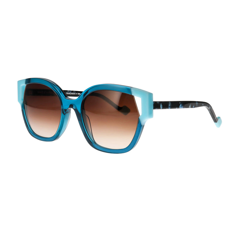 Face A Face - Split 2 - 3207 - Blue / Pearl - Cateye - Rounded - Sunglasses - Brown Gradient Tinted Lenses - Backside AR
