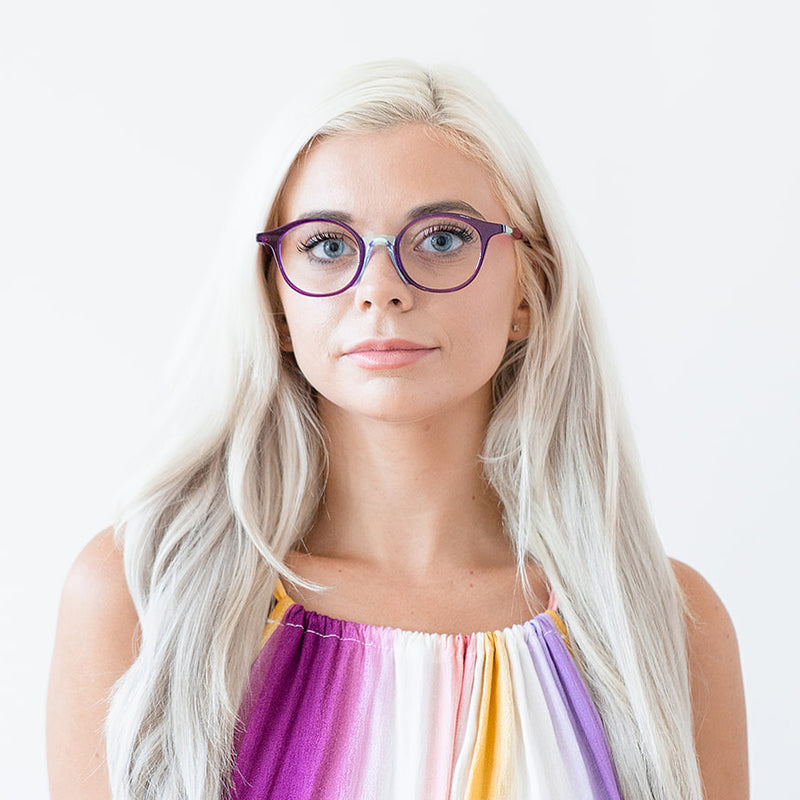 Face A Face - Yayoi 2 -  0370 - Purple / Pink - Round - Eyeglasses - Hicks Brunson Eyewear - model