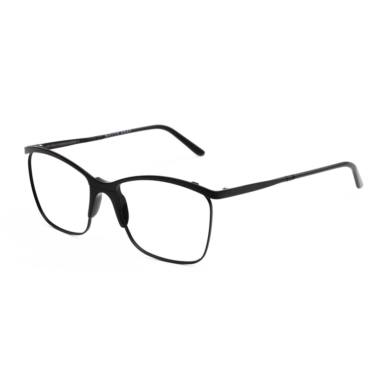 Andy Wolf - Frink - A - Black - Rectangle - Cateye - Metal - Eyeglasses - Hicks Brunson Eyewear