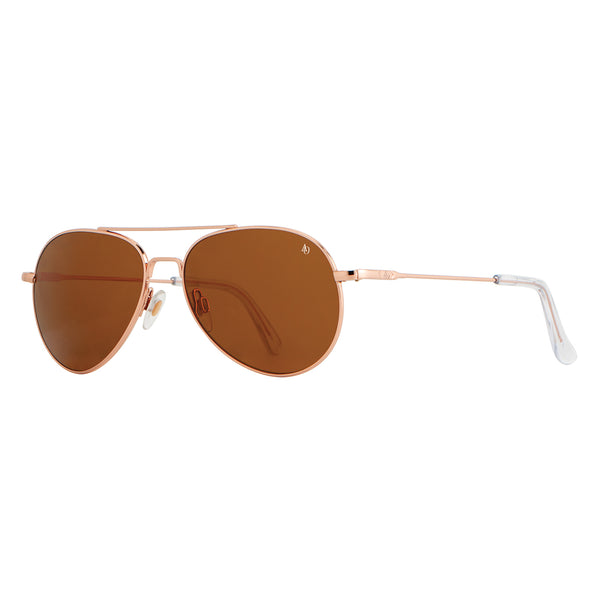 American Optical - General - Rose Gold - 55 - Brown Glass Polarized - Aviator - Sunglasses