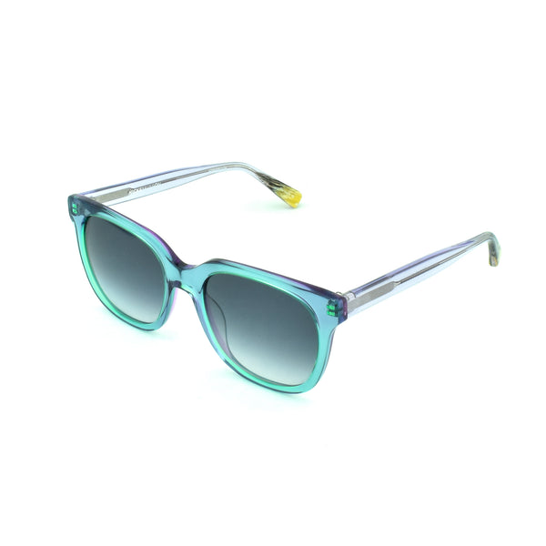 Hicks Brunson - Venus - Aqua / Grey Gradient-Tinted Lenses - L.22 - Rectangle - Butterfly - Sunglasses- Hicks Brunson Eyewear
