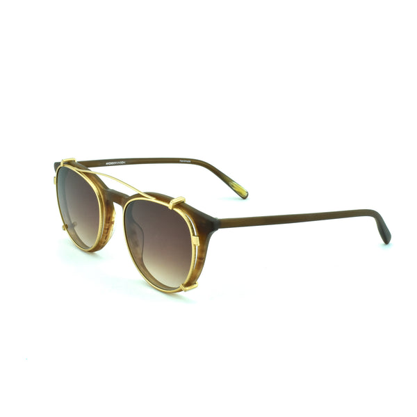 Hicks Brunson - Vinnie - 1067 - Matte Brown / Matte Gold Sun-Clip with Gradient-Brown Tinted Lenses - Round - P3 - Eyeglasses - Clip-on - Sun-Clip - Hicks Brunson Eyewear