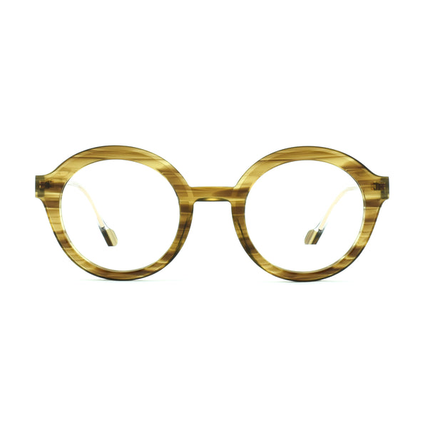 Face A Face - Hollow 1 - 1800 - Brown / Crystal - Round - Eyeglasses - Hicks Brunson Eyewear