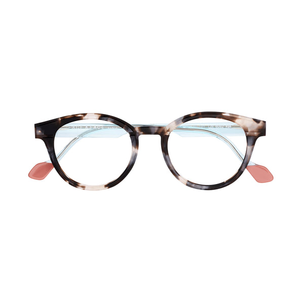 Face A Face - Hollow 3 - 6092 - Pearl Tortoise / Crystal Aqua - Round - Eyeglasses - Hicks Brunson Eyewear