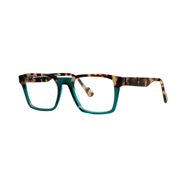 Face A Face - Keith 1 - 2045 -  Tortoise / Aqua - Rectangle - Eyeglasses