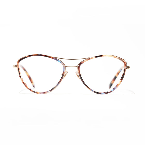 Tom Davies - LE - 84456 - Limited Edition - Blue Tortoise - Gold - Cateye - Titanium - Eyeglasses - Windsor Rim