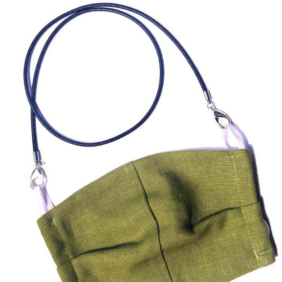 La Mask - 20BLMK - Green Khaki Linen mask w/Black Leather Cord - Mask - LaLoop