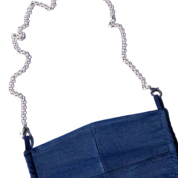 La Mask - Navy Denim Mask w/Silver Plated Chain - Mask - LaLoop