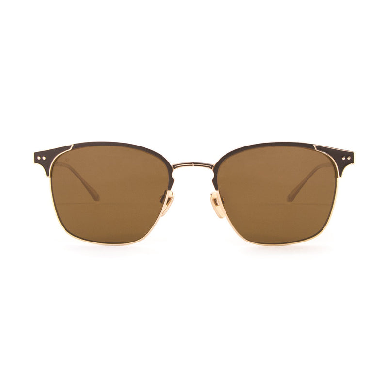Leisure Society - Eden Roc - Gold / Brown / Polarized Brown-Tinted Lenses - Brow-line - Titanium - Sunglasses