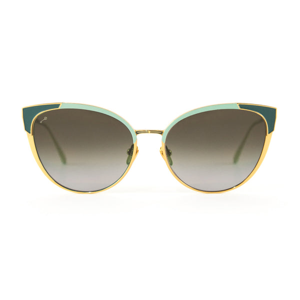 Leisure Society - Nice - 24K Gold / Seafoam - Polarized Sunglasses - cateye - Titanium - Sunglasses