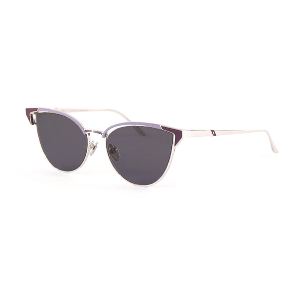 Leisure Society - Satie - Silver / Lavender / Polarized Grey Sun Lenses - Titanium - cateye - sunglasses