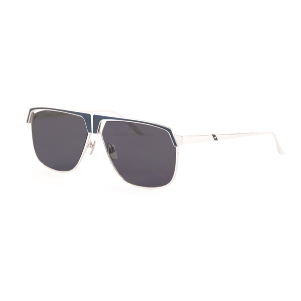 Leisure Society - Savoye - Silver / Azure / Polarized Grey Sun Lenses - Sunglasses - Titanium - Navigator