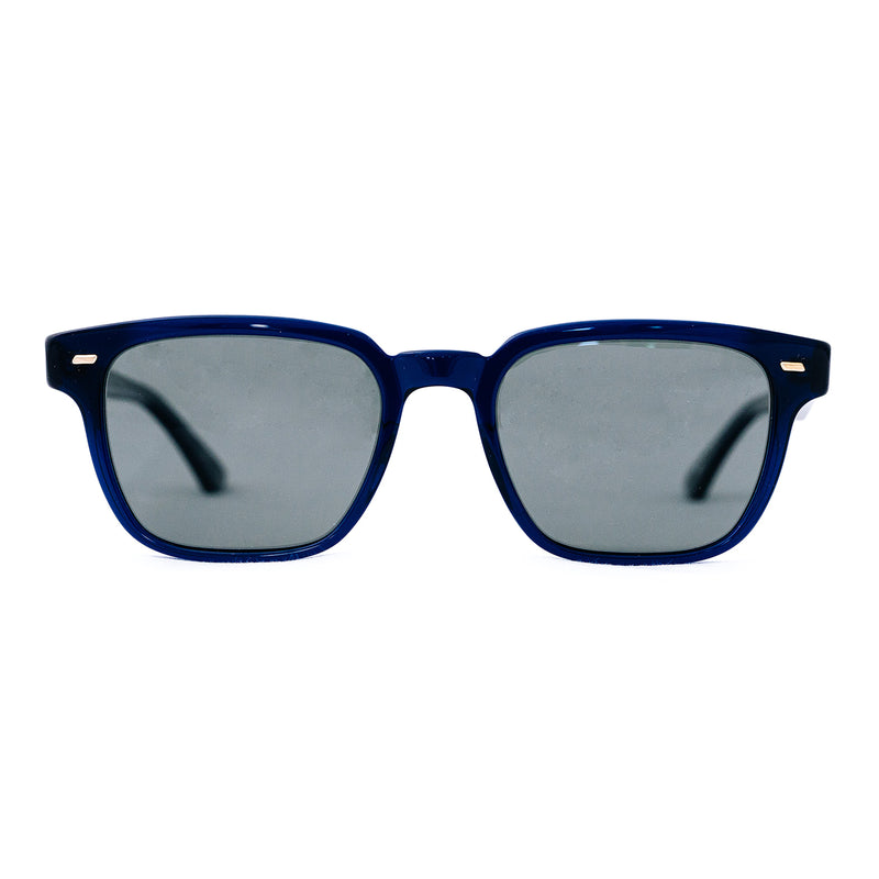 Masunaga - 080 SG - #S25 - Blue-Black / Polarized Grey Lenses - Rectangle - Sunglasses