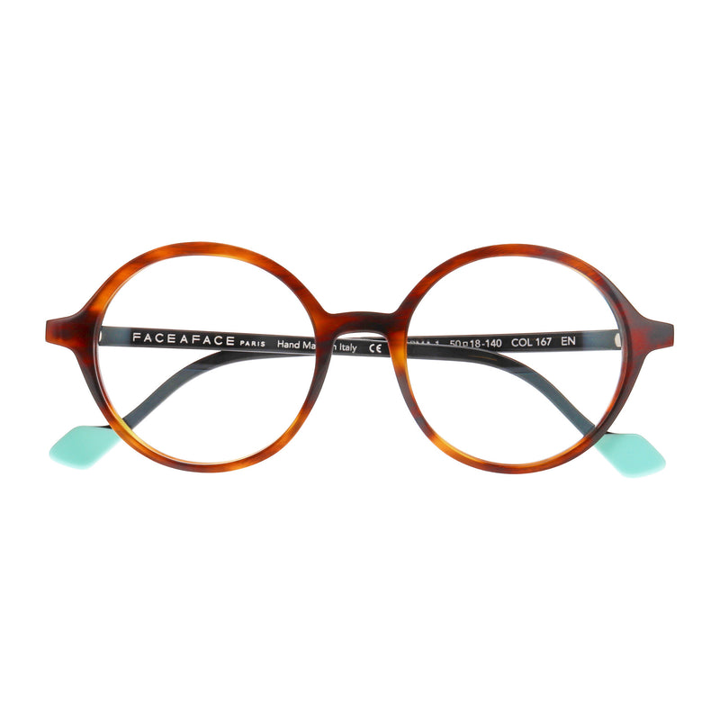 Face A Face - Norma 1 - 196 - Havana / Black / Teal - Round - Eyeglasses