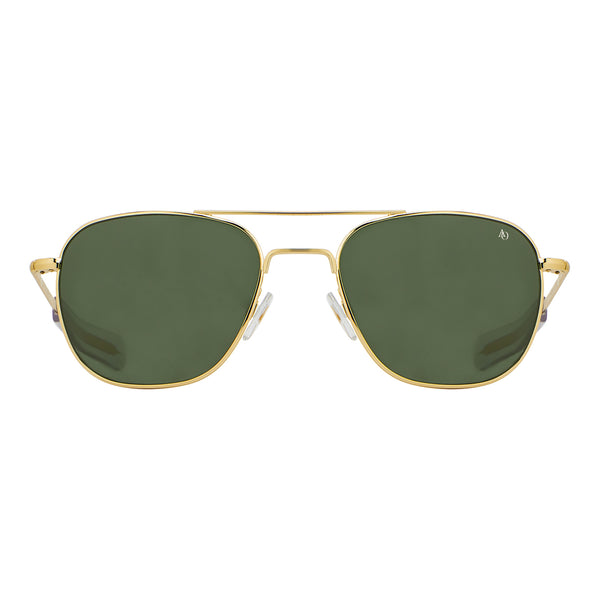 American Optical - Original Pilot - Gold - 57 - Bayonet Temple - Green Glass Lenses - Aviator - Navigator - Sunglasses