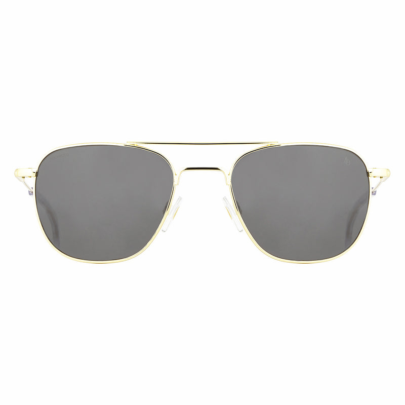 American Optical - Original Pilot - Gold - Grey Glass Lens - Skull Temple- Navigator - 55 eye - Navigator Sunglasses