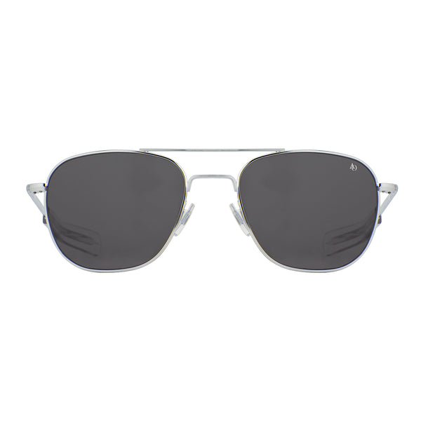 American Optical - Original Pilot - Silver - 55 - Bayonet Temple - Grey Glass Lenses - Aviator - Navigator - Sunglasses