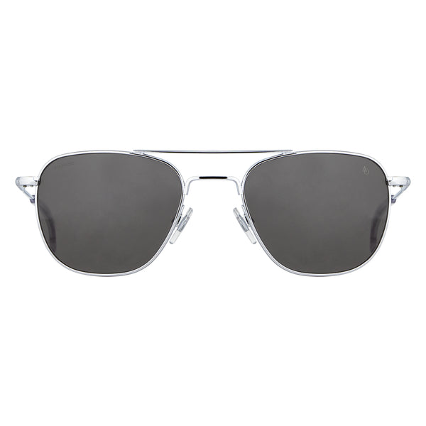 American Optical - Original Pilot - Silver - 55 - Skull Temple - Grey Glass Lenses - Aviator - Navigator - Sunglasses