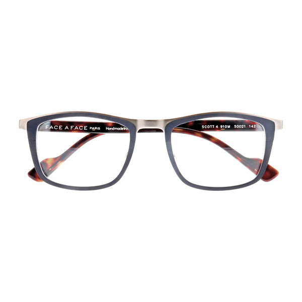 Face A Face - Scott 4 - 910M - Navy / Silver / Havana - Titanium - Rectangle - Eyeglasses