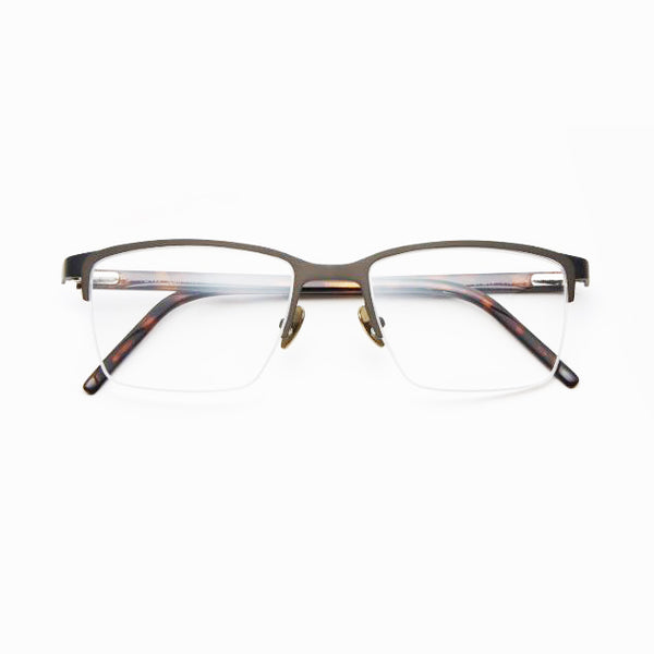 Tom Davies - TD499 - 1499 - Matte Grey / Black / Havana - Half-rim - Titanium - Rectangle - Eyeglasses - Hicks Brunson Eyewear