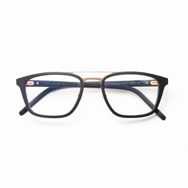 Tom Davies - TD516 - 1555 - Matte Black / Shiny Gold - Rectangle - Eyeglasses - Hicks Brunson Eyewear