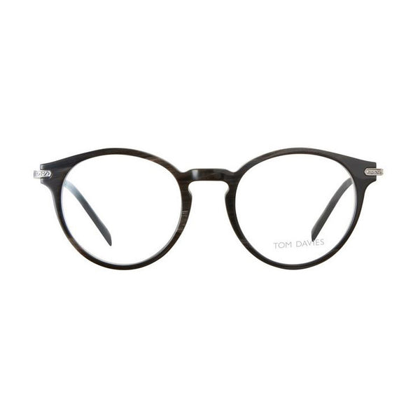Tom Davies - TDH 052 - col. 1251 - Layered Natural Horn - Titanium - Round Eyeglasses