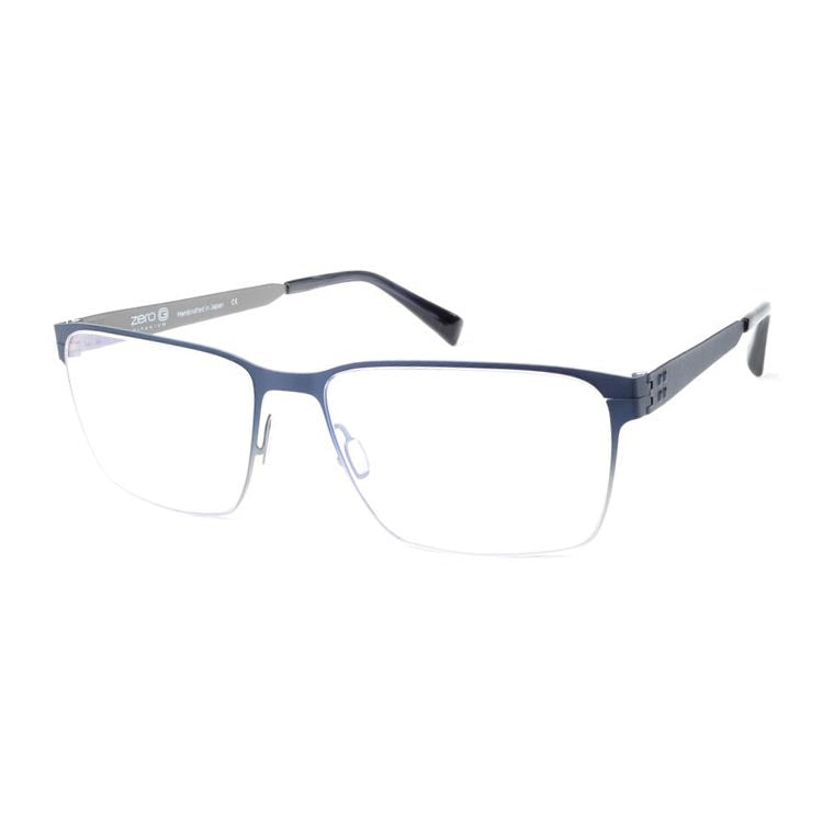Zero G - Wilson - Brushed Blue Steel - Titanium - Rectangle - Eyeglasses - Hicks Brunson Eyewear