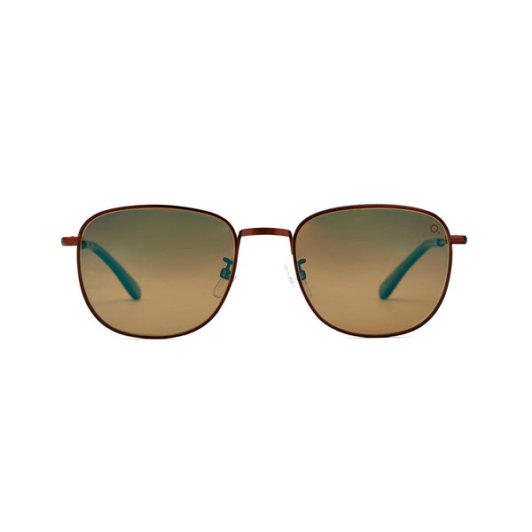 Etnia Barcelona - Xian - 2BRBL - Bronze / Blue-Mirrored Polarized Lenses with Backside Anti-Reflective Coating - Round - Metal - Sunglasses - Hicks Brunson Eyewear