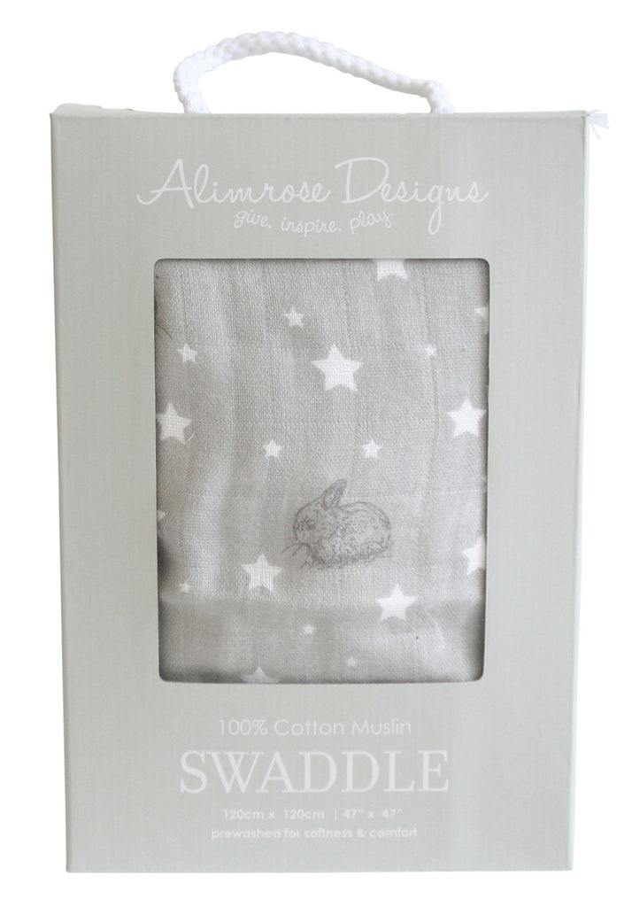 Alimrose Muslin Swaddle - Bunny and Stars (Grey)