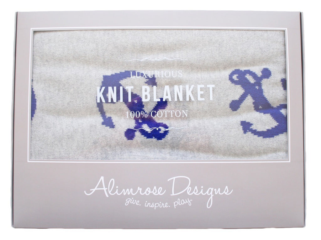 Alimrose Knit Cot Blanket - Anchor