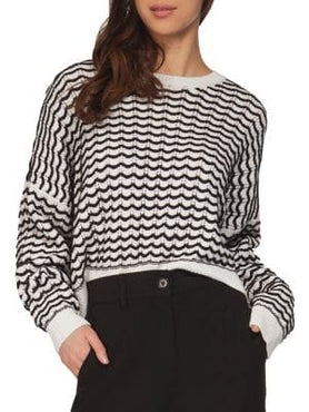 Scalloped black and white sweater