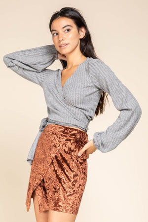 Long sleeve cropped wrap top in ash